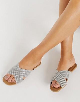 Schuh Tali double strap flat sandals in silver diamante