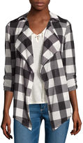 Self Esteem Long-Sleeve Plaid Shirt and Lace-Up Tank Top