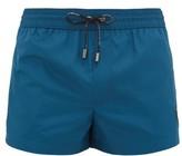 Dolce & Gabbana Logo-embroidered High-cut Swim Shorts - Mens - Blue