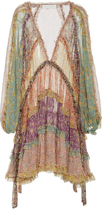 Zimmermann Carnaby Tiered Floral Silk Mini Dress