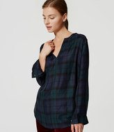 LOFT Petite Plaid Tunic Softened Shirt