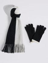 M&S Collection Colour Block Scarf & Gloves Set