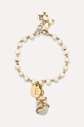 Rosantica Alphabet Gold-tone And Shell Beaded Bracelet - Cream