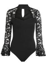 Quiz Black Crepe Frill Lace Sleeve Bodysuit