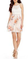 I.N. San Francisco Lace Bodice Floral Skirt A-line Dress