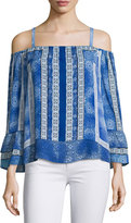 Parker Dipsy Cold-Shoulder Printed Blouse, Olympos