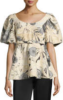 Co Belted Puff-Sleeve Brocade Top, Black/White