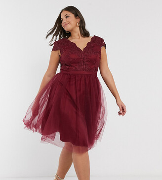 Chi Chi London Plus lace & tulle midi dress in burgundy