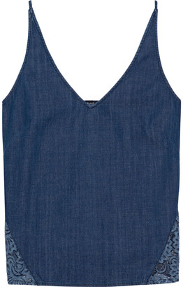 J Brand Lucy Cotton-chambray And Corded Lace Camisole