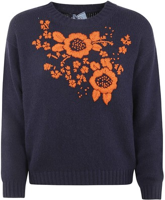 Prada Crewneck Floral Knit Sweater