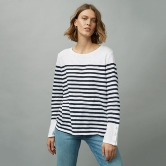 The White Company Organic Cotton Jersey Button Cuff Stripe T-Shirt, White Navy, 4