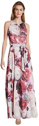 Tahari ASL Ruched Neck Gown (Blue/Pink Floral) Women's Dress