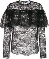 Gaelle Bonheur sheer lace blouse with frill detail