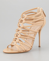 Casadei Leather Cage Strappy Bootie