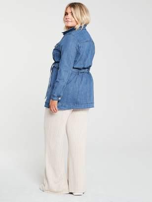 Junarose CurveAylin Denim Shirt Jacket - Mid Wash
