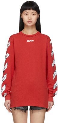 Off-White Red Airport Tape Long Sleeve T-Shirt