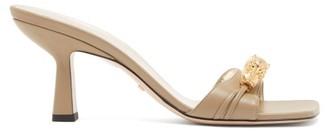 Gucci Dora Crystal Tiger-embellished Leather Mules - Beige