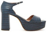 Tabitha Simmons Patton Crocodile-effect Leather Platform Sandals - Womens - Navy