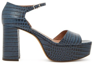 Tabitha Simmons Patton Crocodile-effect Leather Platform Sandals - Navy