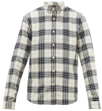 Ami Check Cotton-flannel Shirt - Mens - Blue White