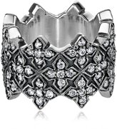King Baby Studio Triple Stacked Cubic Zirconia Mb Cross Ring, 7