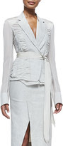 Donna Karan Contrast-Sleeve Blazer w/ Grosgrain Belt