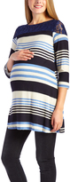 Glam Navy Stripe Lace-Yoke Maternity Tunic