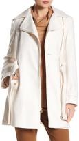 MICHAEL Michael Kors Asymmetrical Front Zip Waist Belt Wool Blend Coat