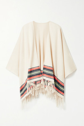 Rag & Bone Fringed Striped Cashmere And Wool-blend Wrap - Cream