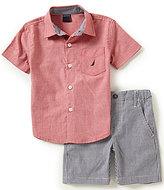 Nautica Little Boys 2T-4T Chambray Woven Shirt & Gingham Shorts Set