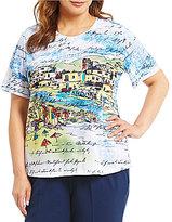 Allison Daley Plus Short Sleeve Seaside Print Embellished Details Knit Top