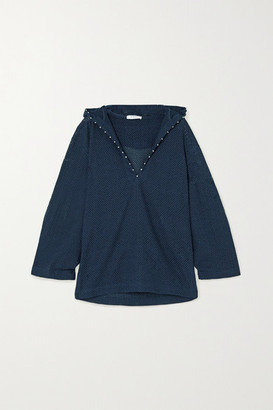 Marysia Swim Picot-trimmed Hooded Cotton-mesh Kaftan - Indigo