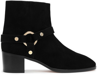 Stuart Weitzman Embellished Suede Ankle Boots