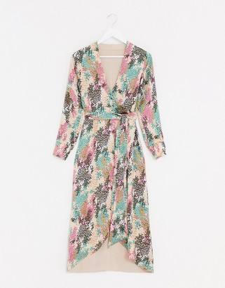 Style Cheat reversible tie side maxi dress in contrast summer floral print