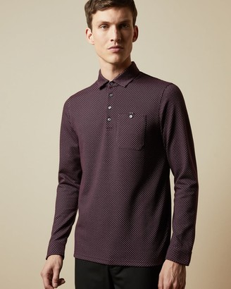 Ted Baker Long Sleeved Micro Print Polo Shirt