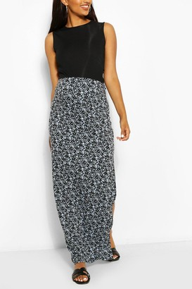 boohoo Maternity Ditsy Floral Side Split Maxi Skirt