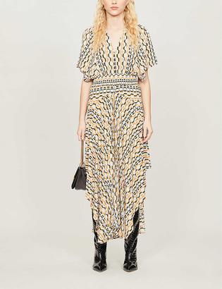 Maje Rachelli graphic-printed crepe midi dress