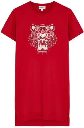 Kenzo Red tiger-print cotton T-shirt dress