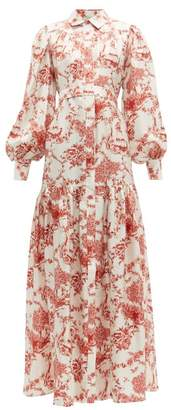 Evi Grintela Elsa Floral Print Silk Twill Shirtdress - Womens - Red White