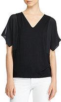 Lauren Ralph Lauren Crepe-Sleeve Jersey Top