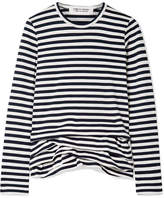 Comme des Garcons Ruffled Striped Cotton-jersey Top