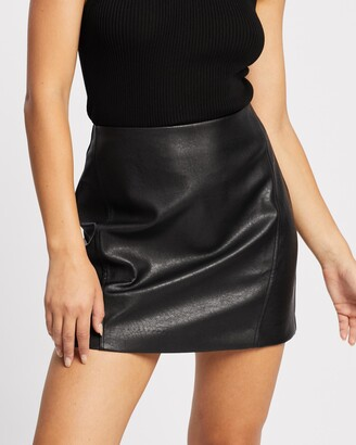 Atmos & Here Atmos&Here - Women's Black Leather skirts - Elora PU Mini Skirt - Size 6 at The Iconic