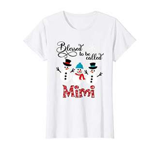 Womens Blessed To Be Called Mimi Snowman Christmas T-Shirt