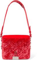Off-White Embossed Velvet Shoulder Bag - Red
