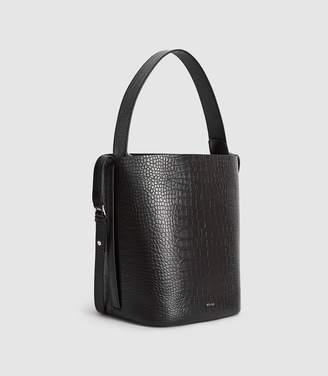 Reiss Hudson Croc - Leather Embossed Croc Bucket Bag in Black