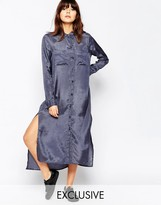 NATIVE YOUTH Satin Touch Maxi Shirt Dress