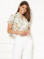 New York & Co. Eva Mendes Collection - Abigail Cap-Sleeve Lace Ruffle Blouse
