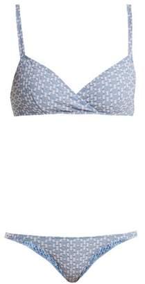Lisa Marie Fernandez Yasmin Geometric Pattern Bikini - Womens - Blue Multi
