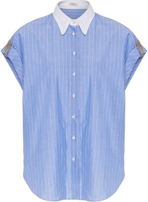 Brunello Cucinelli Monili-Tab Rolled Sleeve Striped Cotton Blouse