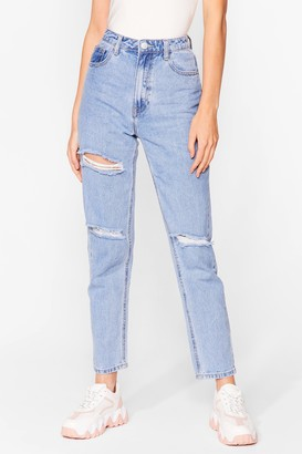 Nasty Gal Womens Wash Us Work It Distressed Mom Jeans - Blue